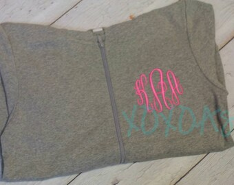 Womens Light Weight Zip Up Jacket with Custom Monogram--Bridesmaid Gift--Sorority Gift-- Customized with several color options
