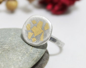 Coin Face Sterling Silver 24K Keum-boo Ring, Statement Ring, Hammered Silver Ring, Rustic Silver Ring, Keum-boo ring