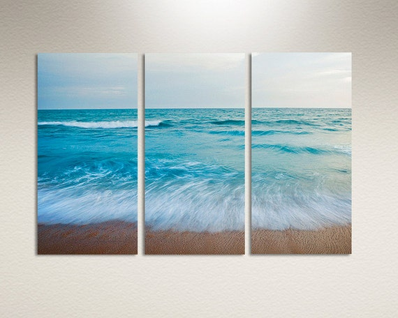 Three panel canvas print blue ocean shore by clearframegallery for 3 panel wall art