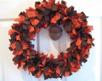 Brown and Rust Wreath, Acorn Accent, Autumn Wreath, Fall Wreath, Rag Wreath with Acorn, Coat Hanger Wreath,