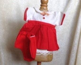 Vintage Red Doll Dress And Undies