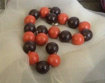 Vintage Wooden Beads Orange Brown