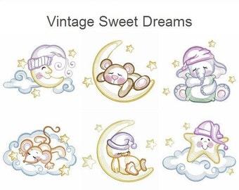 Vintage Sweet Dreams Machine Embroidery Designs Instant Download 4x4 5x5 6x6 hoop 10 designs APE2102