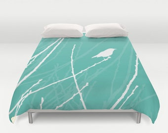 Bird on Twig Duvet Cover - Aqua Blue Turquoise Teal - Queen Size Duvet Cover - King Size Duvet Cover