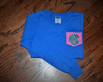 ON SALE!! KIDS Monogrammed Pocket Tee - Long Sleeve - Lots of colors!