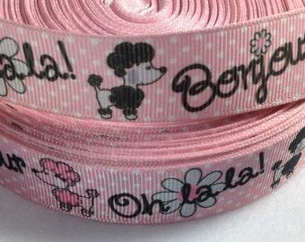 "2 Yards of 7/8"" Oh La La French Poodle grosgrain ribbon"
