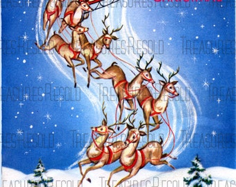 Night Before Christmas Santa Sleigh And Reindeer Christmas Card 343 Digital Download