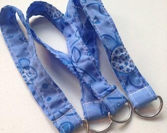 Blue Floral Wristlet Keychain