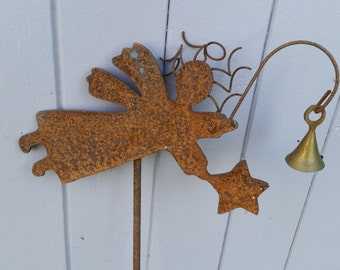 Rusty Iron Christmas Angel Garden Stake