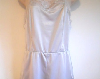 Vtg French Maid Silky Ice Blue Nylon Teddy Onesie Small Petite