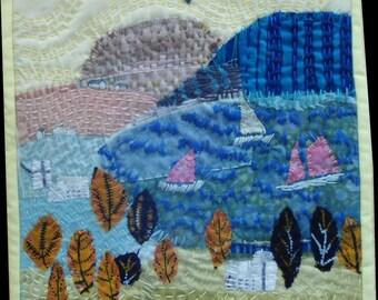 "quilt wall haning landscape. Fiber Art . Quilt art. Textile art. Wall hanging.    THREE BOATS      8""x8"""
