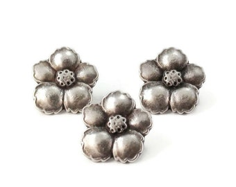 Hibiscus Flower Metal Buttons 14mm Silver Qty 3