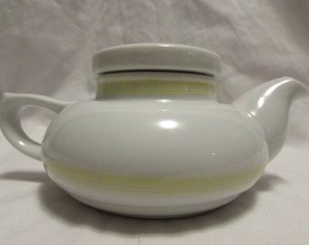 Japanese Style Teapot, White and Yellow, 1980's