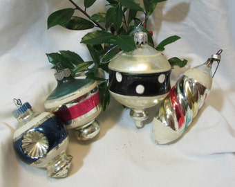 CHRISTMAS ALERT! Vintage Glass Christmas Ornaments, Set of Four, 1950's