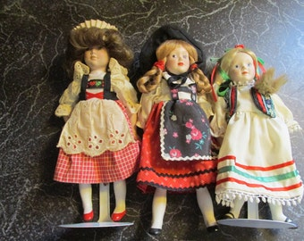 Danbury Mint Dolls of the World Collection Poland, Germany, and Switzerland