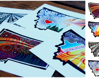 Montana Abstract Postcard- Variety 4 Pack