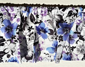 Purple Flower Kitchen Valance Curtain