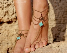 anklet foot jewelry barefoot sandals bronze turquoise boho bohemian hippie ethno body jewelry