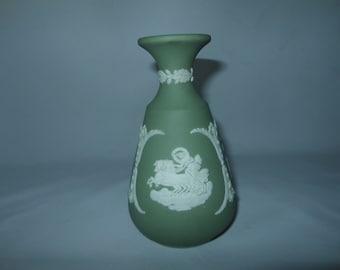 "Beautiful Rare Green Wedgwood 5"" Vase - Wedgwood - Grecian Maidens and Chariots"