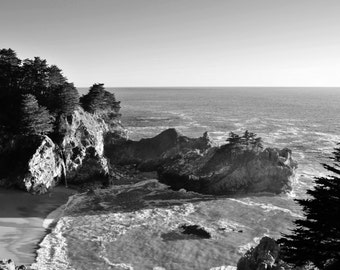 McWay Falls at Julia Pfeiffer Burns State Park in Big Sur, California - Black and White Photo Wall Art Image