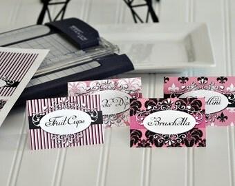 Paris Buffet Labels, Paris Food Tent, Paris Birthday Decorations, Paris Birthday