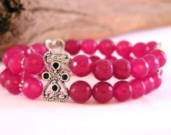 Jade Bracelet, Gemstone Bracelet, Stretch Bracelet, Stone Bead Bracelet, Bead Bracelet Jade, Yoga Bracelet, Bead Bracelet Women