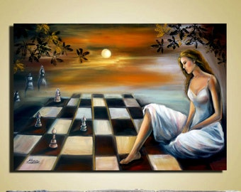 Original large oil painting  contemporary artwork Surreal figures chess, woman, landscape, sunset, pawns, sky, trees.  Canvas ready to hang
