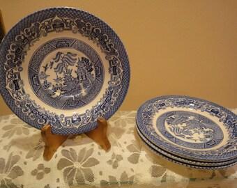 Vintage Asian Blue Plates