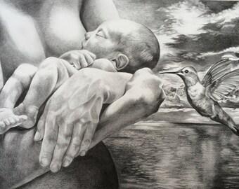 "Giclee print drawing mother and child hummingbird ocean art spiritual fantasy illustration fine art nurture baby serene ""Love"" 29x42cm"