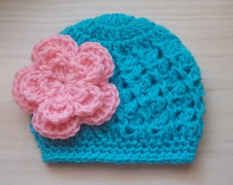 Crochet baby hat, newborn girl hat, girl hospital hat, newborn girl outfit, turquoise girl hat, crochet newborn hat,  baby girl hat