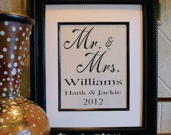 Mr & Mrs - Wedding gift - Est. Date - Wife Anniversary - Husband Gift - Housewarming Gift - Cotton Anniversary Gift 2nd year (mm111a)