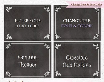 INSTANT DOWNLOAD - Chalkboard EDITABLE Folding and Mini Buffet Card, Food Label