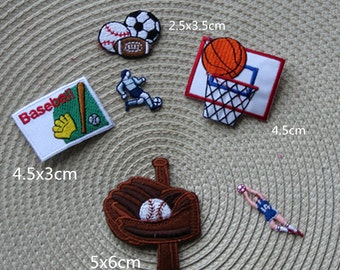 Sport Lot    6pcs soccer baseball basket ball football  embroiderked iron on patch