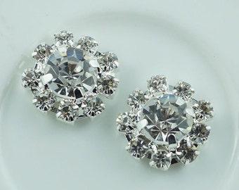 Wholesale bulk lot  30pcs  Rhinestone buttons Metal Flatback Embellishment Crystal, Wedding bouquet  12mm