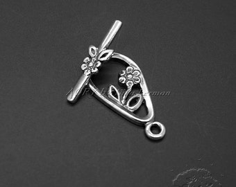 925 Sterling Silver Toggle Clasp, Top Quality, Flowers Toggle Clasp, Made in Israel, Romantic Style, 22x11mm + 18x4.5mm, code13521363as