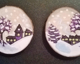 Pair of Little Christmas Scene Wooden Magnets!