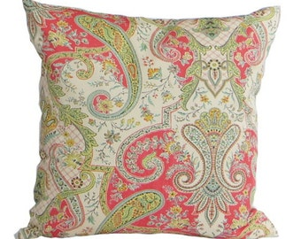 Waverly Paisley Pillow, coral, aqua, grey, yellow, green, tan, ivory