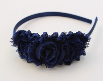Navy blue headbands, navy blue flower girl headbands, girls toddler headband, navy blue flower headband, navy blue wedding headband