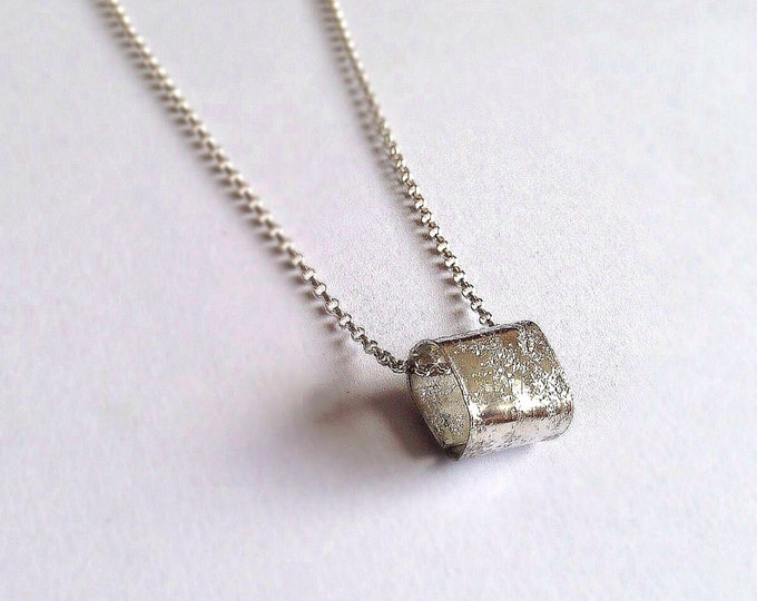 Rustic Silver Cube Necklace - Unisex Silver Square Pendant - Men's - Eco-friendly - Rough Textured Distressed Hammered