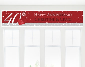 40th Anniversary Party Banner - Custom Anniversary Party Decorations