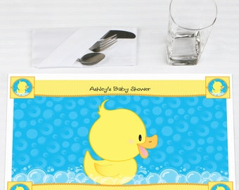 Set of 12 Ducky Duck Placemats - Personalized Baby Shower or Birthday Party Supplies