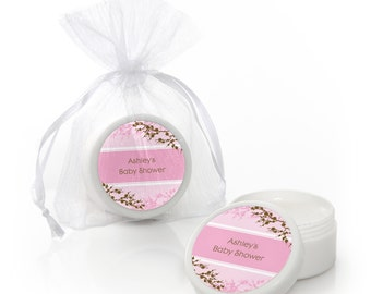 Cherry Blossom Lip Balm Party Favors - Custom Baby Shower, Birthday Party, or Bridal Shower Supplies - 12 Count
