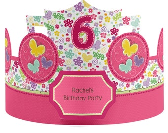 8 Custom Butterfly and Flowers Party Hats - Birthday Party Hats - Party Supplies - 8 Count