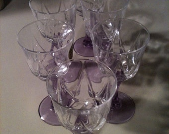 Crystal Cordial Glass Set Luscious Lavendar Stems by Cristal D'Arques of France 3 3oz