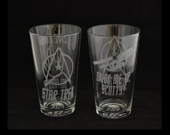 Set of 2 Custom Etched Star Trek Pint glasses Monogram available