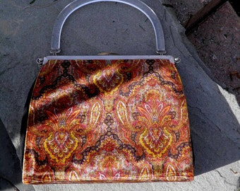 Vintage 3 in One Convertible Purse with Clear Lucite Handle Shabby Chic