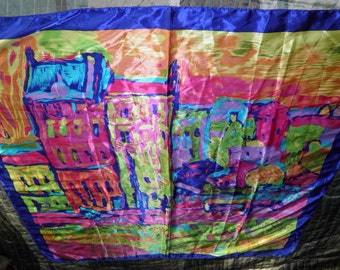 Vintage Abstract Painting  of a City Scene Scarf