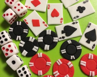 24 casino cupcake toppers adult edible fondant cake topper decorations dice cards poker bachelorette party adult - Casino Decorations