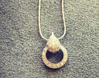Silver teardrop and loop necklace