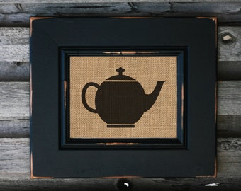 Tea Pot Kettle Burlap Kitchen Print Kitchen Decor Home Decor Gift - PRINT ONLY
